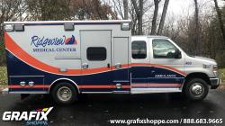 Ridgeview Medical Center Ambulance with extended Cab graphics wrap